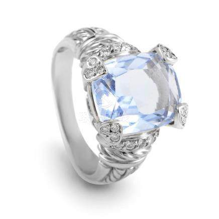 Judith Ripka Women's 18K White Gold Diamond Blue Quartz Ring
