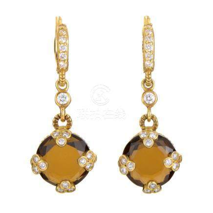 Judith Ripka 18K Yellow Gold Diamond and Smoky Quartz Earrin