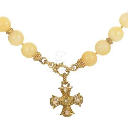 Judith Ripka 18K Yellow Gold Beaded Enhancer Cross Necklace
