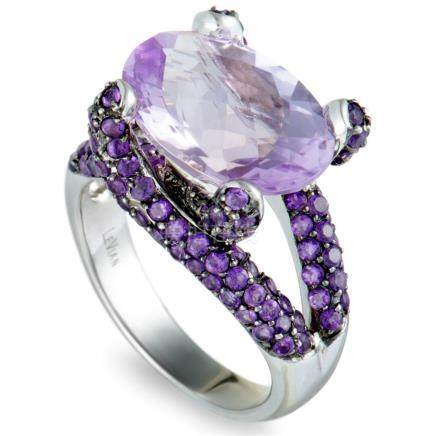 LeVian 14K White Gold Amethyst Pave and Oval Amethyst Ring