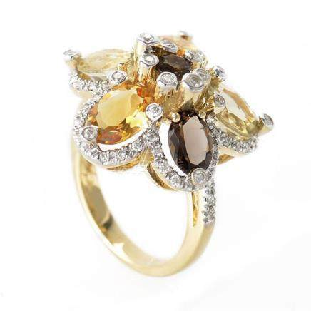 LeVian 14K Yellow Gold Smoky Topaz and Citrine Flower Ring