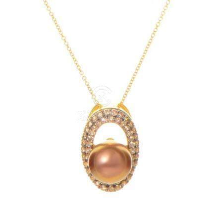 LeVian 14K Yellow Gold Brown Pearl and Diamond Pendant Neckl