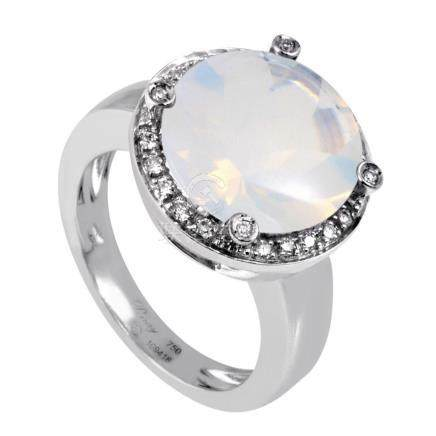 18K White Gold Diamond Milky Quartz Ring PPD2133