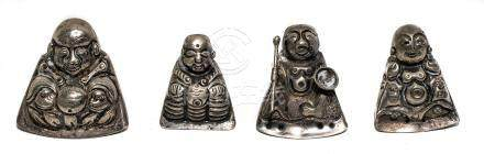 N. 4 opium spoons in silver, China, XIX Century depicting Buddha, different sizes.