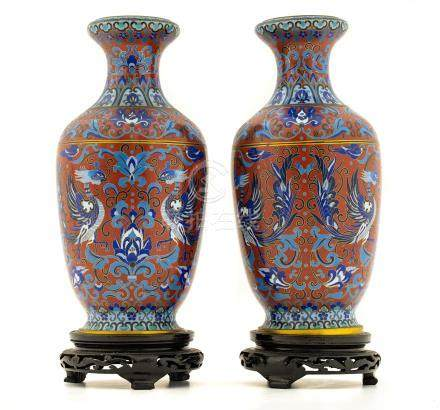 Pair of porcelain vases, China, XX Century, with base. H cm 35