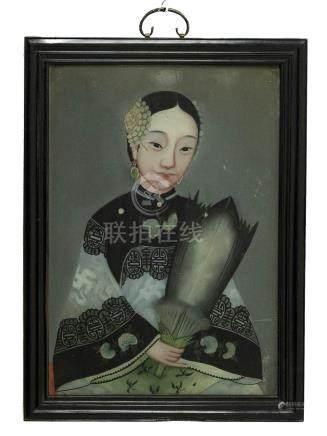305 Chinese woman, XIX Century, 50X36 Painting on glass