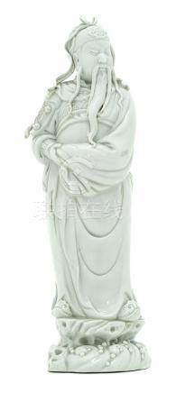 Figure of Chinese Essay in White Porcelain, China, Period of Dowager Empress Cixi. H cm 40