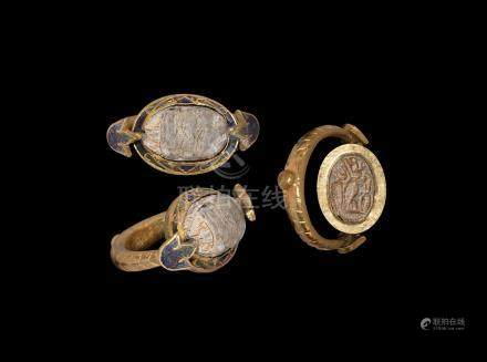 Egyptian Gold Enamelled Ring with Scarab