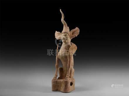 Chinese Tang Terracotta Earth Spirit Figurine