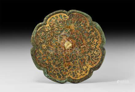 Large Chinese Tang Gilt Mirror with Animals