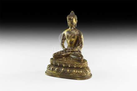 Tibetan Gilt Sitting Buddha Statuette
