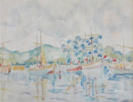 Style of Paul Signac (French 1863-1935) YACHTS IN A BAY watercolour on paper PROVENANCE Purchased