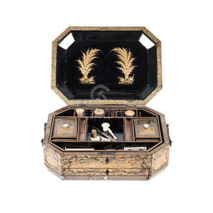 A CHINESE EXPORT LACQUERED NEEDLEWORK BOX, 19TH CENTURY the octagonal gilded and hinged lid