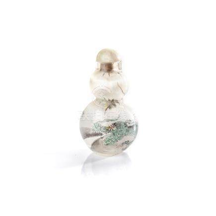 A CHINESE INSIDE PAINTED GLASS 'DRAGON' SNUFF BOTTLE moulded to resemble a double gourd, raised on a