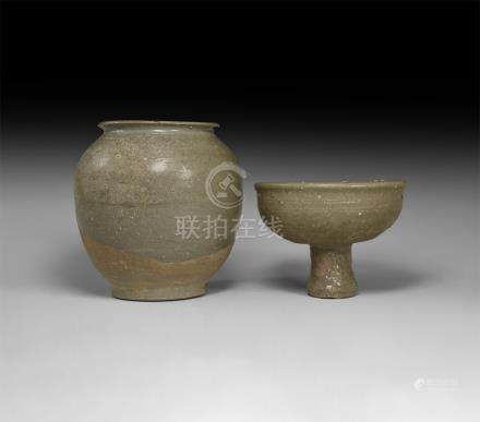 Chinese Tang Grey-Glazed Vase and Cup Group