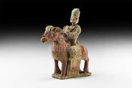 Chinese Ming Horse and Rider Figurine