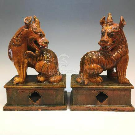 (2) CHINESE HORNED QILIN,TERRACOTTA