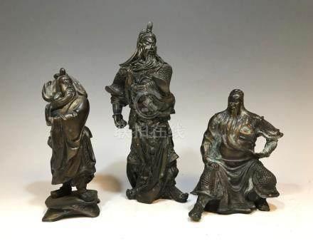 (3) BRONZE CHINESE GUANGONG FIGURES