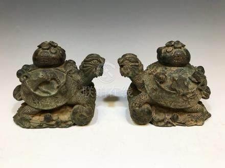 PAIR CHINESE STYLE BRONZE TURTLES