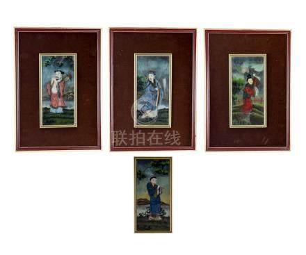 (4) CHINESE REVERSE GLASS PORTRAIT PAINTINGS