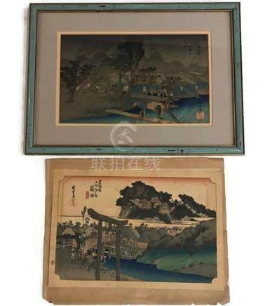 (2) HIROSHIGE JAPANESE WOODBLOCK PRINTS