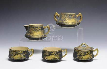 (6) PARTIAL BLACK & GILT JAPANESE TEA SET