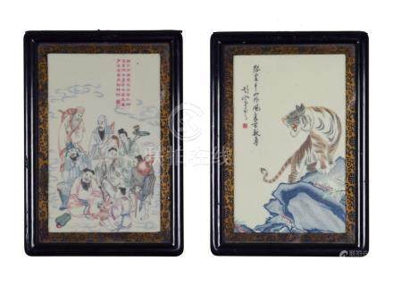 PAIR OF CARVED & PAINTED CELLULOID PANELS, CHINESE