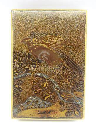 Another Japanese lacquer box, Edo period (18th Century) with a falcon on a flowering branch in gold,