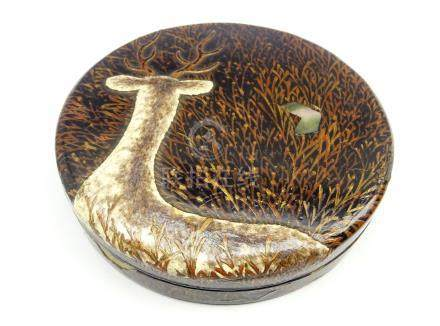 Another Japanese lacquer circular box and cover decorated with a stag among grasses with mother of
