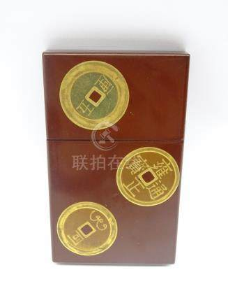 Japanese brown lacquer card case inset with imitation Chinese and Japanese coins 8.