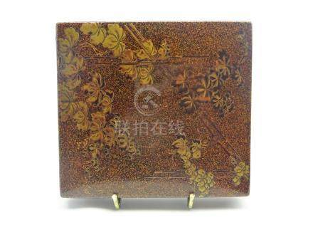 Japanese shallow rectangular lacquer box and cover,