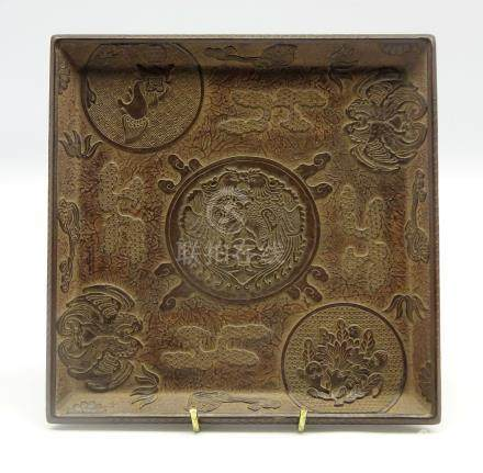 Chinese 19th Century lacquer tray carved in relief with a central cartouche of two Phoenix on a