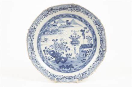 A 19th Century Chinese blue and white octagonal dish, underglaze blue decoration of lake scene