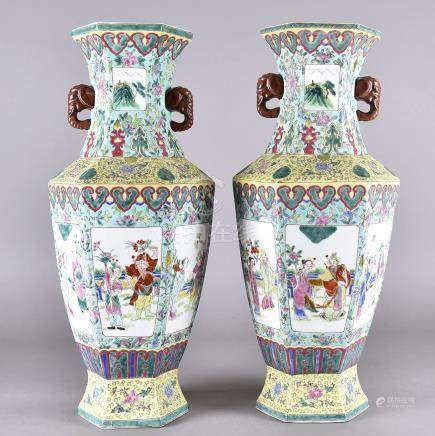 A pair of modern Chinese porcelain hexagonal vases, the bodies decorated with six panels, each