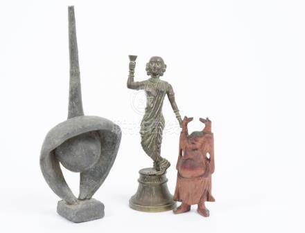 An Indian bronze statue of a woman dancing in traditional clothing, 16 cm high, a stone sculpture,