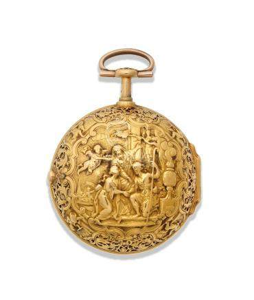 John Prou, London. A gold key wind repeating pair case pocket watch with repoussé decoration Circa 1740