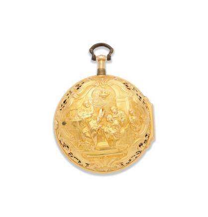 H. Fish, London. An 18K gold key wind pair case repoussé pocket watch signed by H Manly London Hallmark for 1743