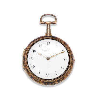 James Williams, London. A gilt metal and under-painted horn pair case pocket watch Circa 1800