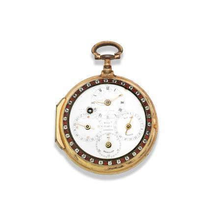 William Pybus, London. A gilt double dial consular case verge watch with day, date and moon phase indication Circa 1780