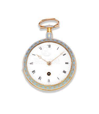 Wightwick & Moss, Ludgate  Street, London. A continental gold and enamel key wind open face pocket watch Circa 1810