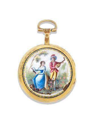 A gilt metal key wind open face with painted enamel scene  Circa 1800