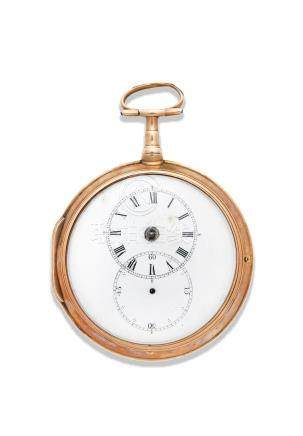 An 18K gold key wind open face pair case pocket watch   London Hallmark for 1800