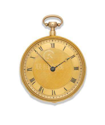 French. A good continental gold open face key wind musical quarter repeating pocket watch Circa 1810