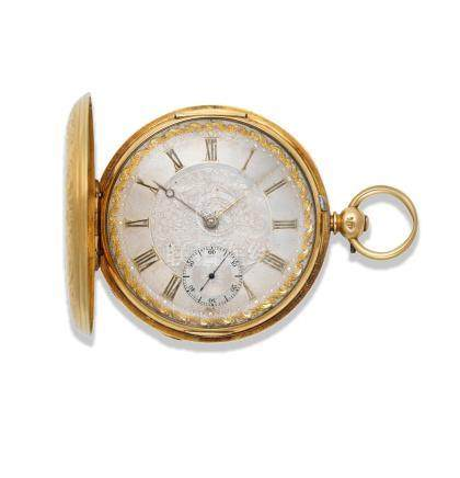 E. J. Dent, London. A good 18K gold key wind full hunter pocket watch with finely engraved case London Hallmark for 1849
