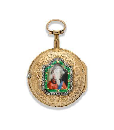 Lepine. A continental gold key wind open face pocket watch with painted enamel portrait to reverse Circa 1790