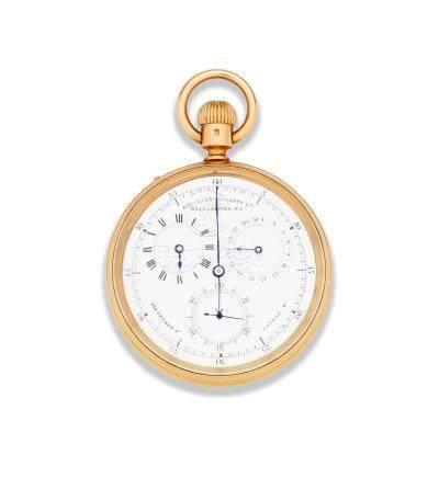 Sir John Bennett Ltd, 65 Cheapside E. C and 105 Regent St, London. W. An 18K gold keyless wind open face calendar chronograph pocket watch with regulator dial London Hallmark for 1933