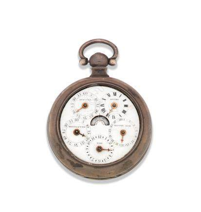 A silver key wind dual sided open face pocket watch with tidal and moon age indication Circa 1830