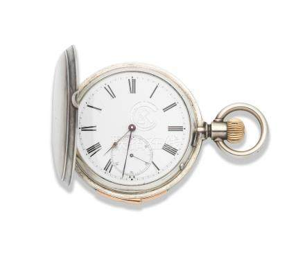 Bearing the signature Pateck & Cie. A silver keyless wind repeating full hunter pocket watch Circa 1900