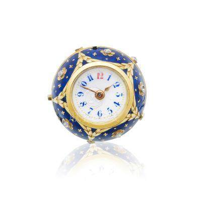 A continental gold, enamel and diamond set keyless wind ball-form watch  Circa 1900