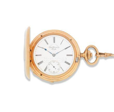 Patek Philippe for Spaulding & Co Chicago. A good 18K gold keyless wind half hunter pocket watch Circa 1870